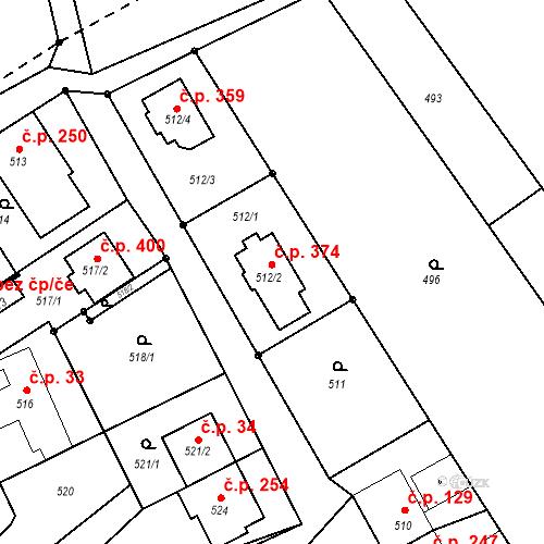 Katastrální mapa Stavební objekt Chomoutov 374, Olomouc