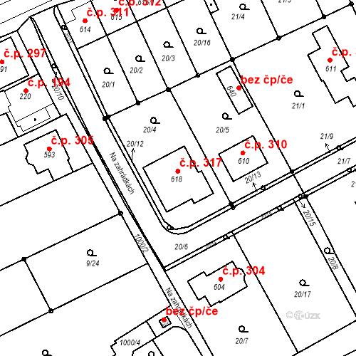 Katastrální mapa Stavební objekt Řepčín 317, Olomouc