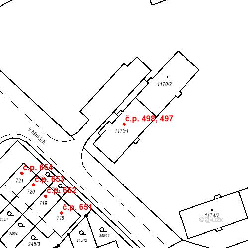 Katastrální mapa Stavební objekt Nová Ulice 497, 498, Olomouc