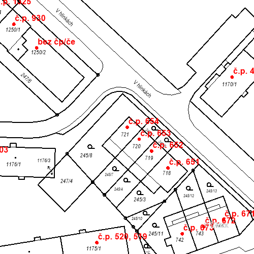 Katastrální mapa Stavební objekt Nová Ulice 654, Olomouc