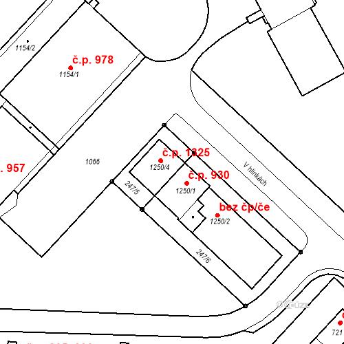 Katastrální mapa Stavební objekt Nová Ulice 930, Olomouc