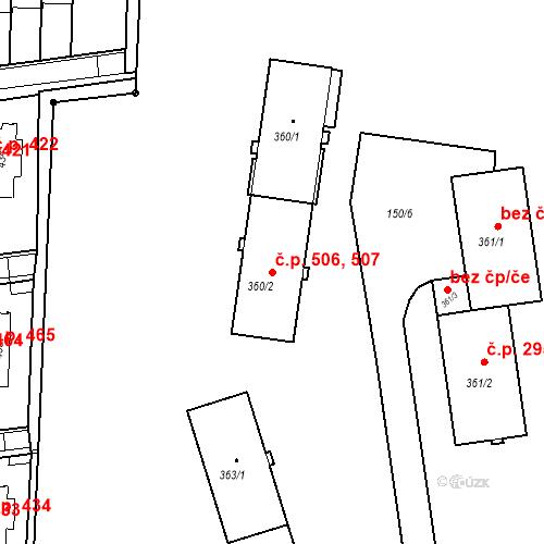 Katastrální mapa Stavební objekt Neředín 506, 507, Olomouc