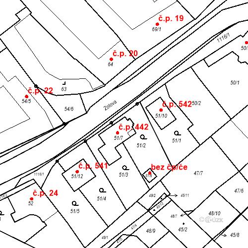 Katastrální mapa Stavební objekt Slavonín 442, Olomouc