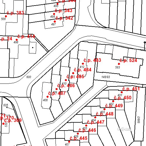 Katastrální mapa Stavební objekt Neředín 484, Olomouc