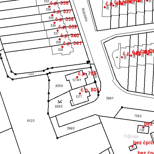 Katastrální mapa Stavební objekt Neředín 765, Olomouc