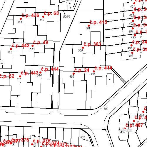 Katastrální mapa Stavební objekt Neředín 24, Olomouc
