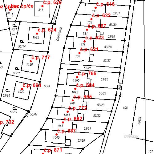 Katastrální mapa Stavební objekt Neředín 766, Olomouc