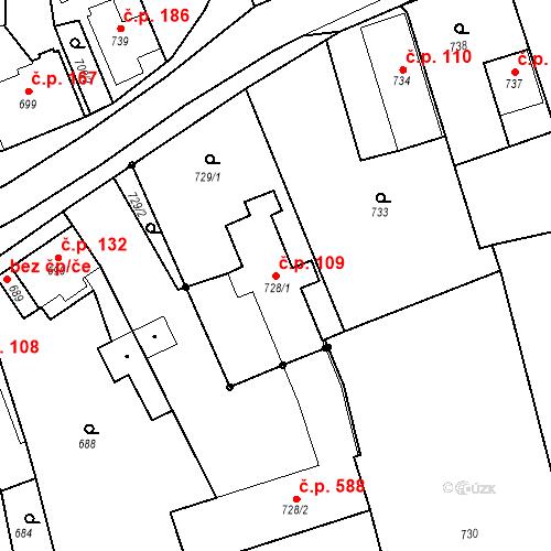 Katastrální mapa Stavební objekt Dlouhá Loučka 109, Dlouhá Loučka