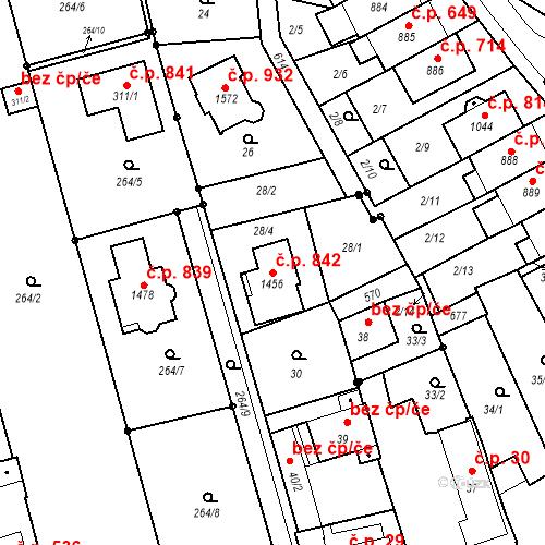 Katastrální mapa Stavební objekt Neředín 842, Olomouc