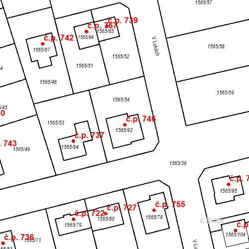 Katastrální mapa Stavební objekt Horka nad Moravou 746, Horka nad Moravou