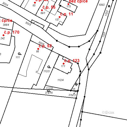 Katastrální mapa Stavební objekt Nedvězí 123, Olomouc