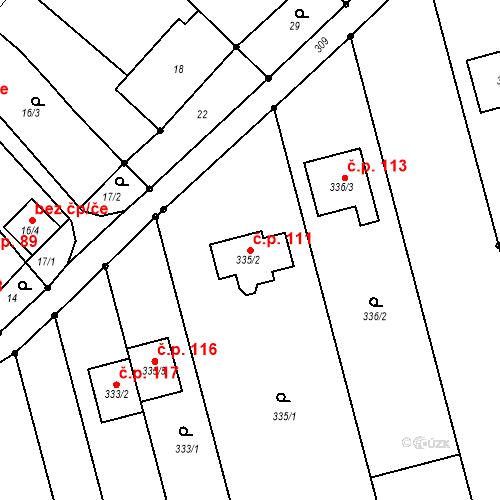 Katastrální mapa Stavební objekt Topolany 111, Olomouc