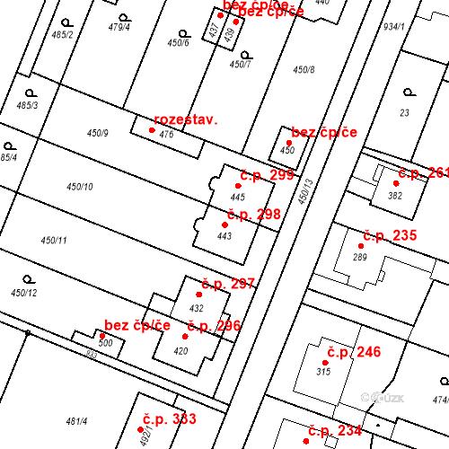 Katastrální mapa Stavební objekt Klenovice na Hané 298, Klenovice na Hané