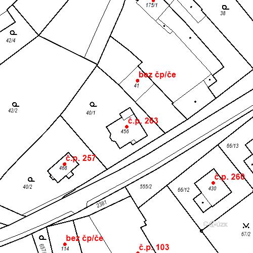 Katastrální mapa Stavební objekt Hrubčice 263, Hrubčice