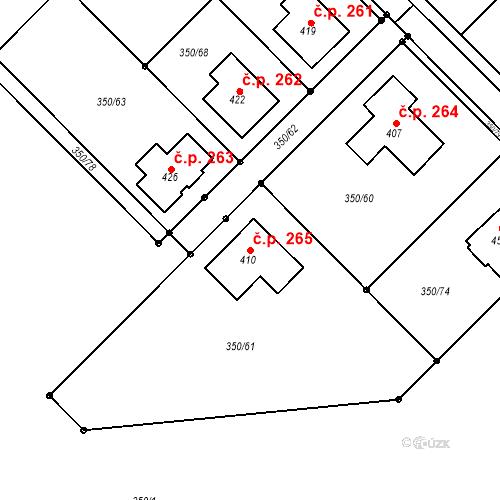 Katastrální mapa Stavební objekt Příkazy 265, Příkazy
