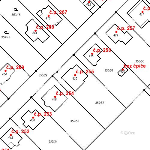 Katastrální mapa Stavební objekt Příkazy 255, Příkazy