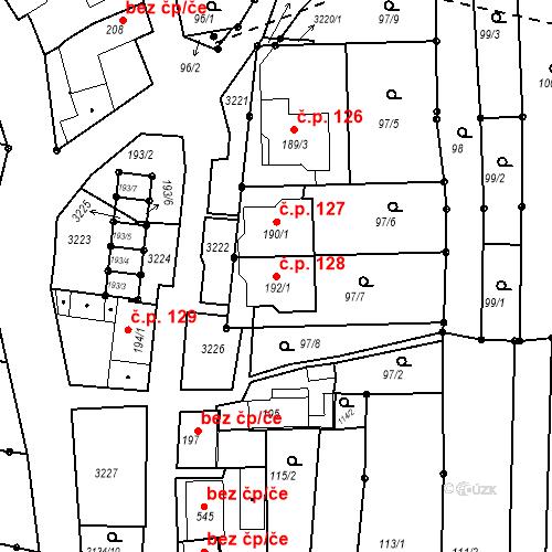 Katastrální mapa Stavební objekt Žeravice 128, Žeravice