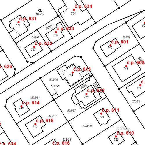 Katastrální mapa Stavební objekt Olšany u Prostějova 613, Olšany u Prostějova