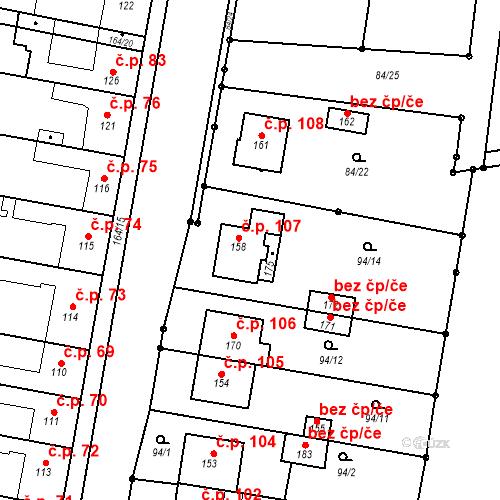 Katastrální mapa Stavební objekt Vojnice 107, Těšetice