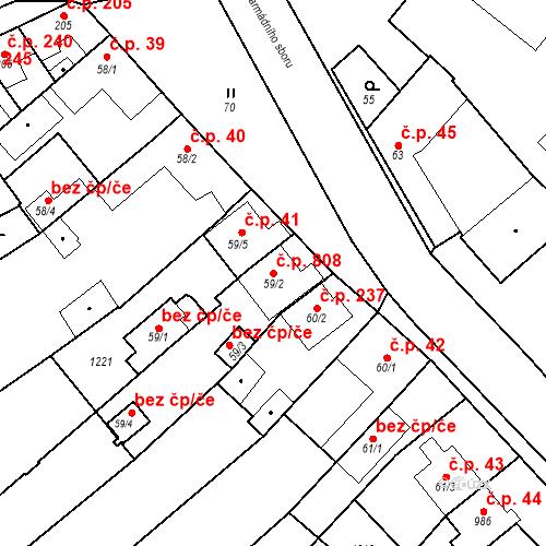 Katastrální mapa Stavební objekt Vrahovice 808, Prostějov