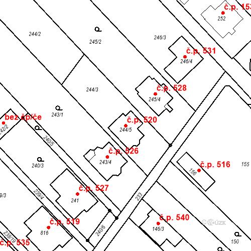 Katastrální mapa Stavební objekt Bedihošť 520, Bedihošť