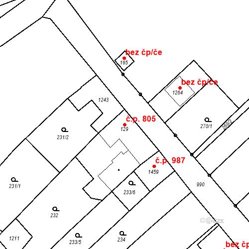 Katastrální mapa Stavební objekt Vrahovice 805, Prostějov