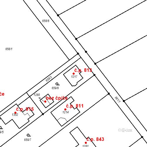 Katastrální mapa Stavební objekt Vrahovice 813, Prostějov