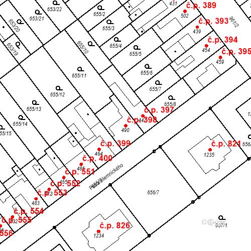 Katastrální mapa Stavební objekt Vrahovice 398, Prostějov