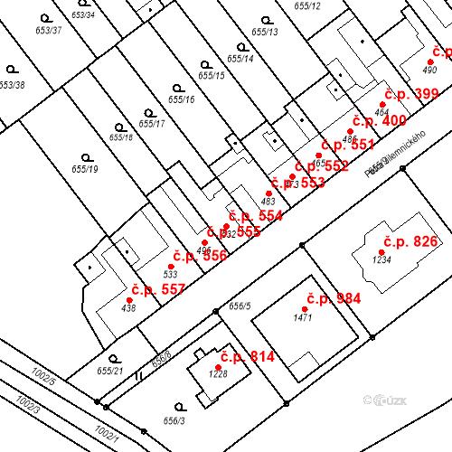 Katastrální mapa Stavební objekt Vrahovice 554, Prostějov