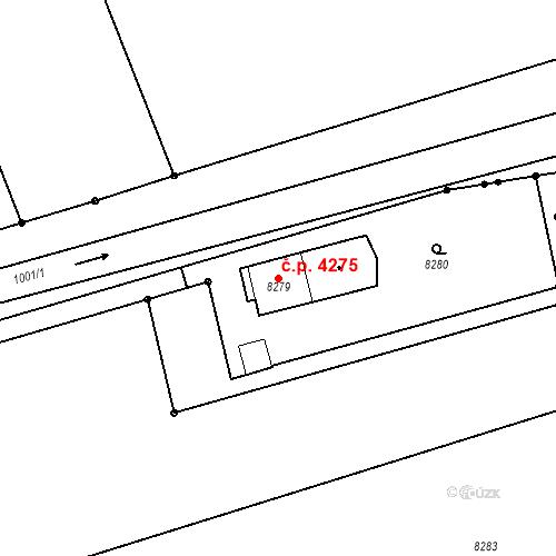 Katastrální mapa Stavební objekt Prostějov 4275, Prostějov