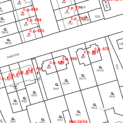 Katastrální mapa Stavební objekt Vrahovice 660, Prostějov