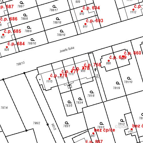 Katastrální mapa Stavební objekt Vrahovice 778, Prostějov