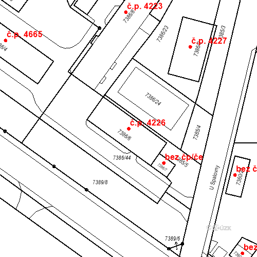 Katastrální mapa Stavební objekt Prostějov 4226, Prostějov
