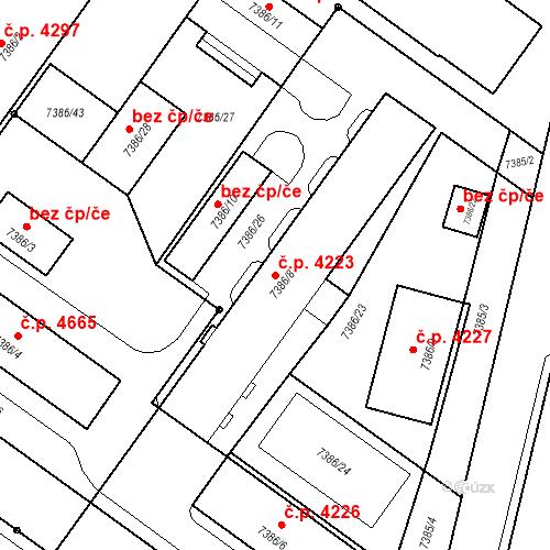 Katastrální mapa Stavební objekt Prostějov 4223, Prostějov