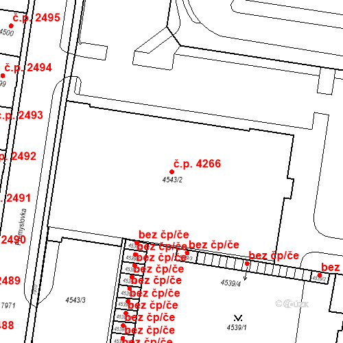 Katastrální mapa Stavební objekt Prostějov 4266, Prostějov