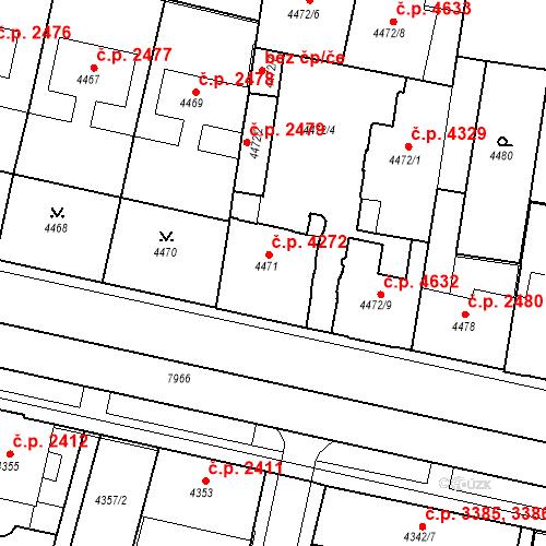 Katastrální mapa Stavební objekt Prostějov 4272, Prostějov