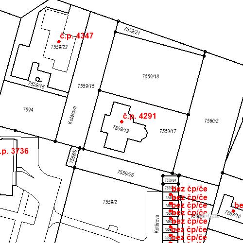 Katastrální mapa Stavební objekt Prostějov 4291, Prostějov