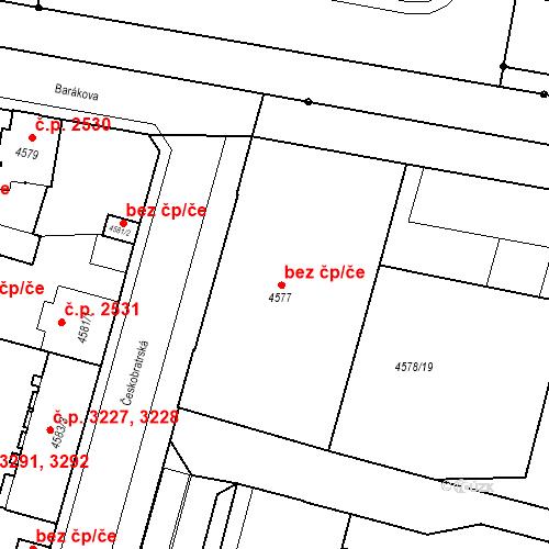 Katastrální mapa Stavební objekt Prostějov 4279, Prostějov