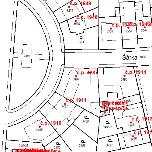 Katastrální mapa Stavební objekt Prostějov 4287, Prostějov