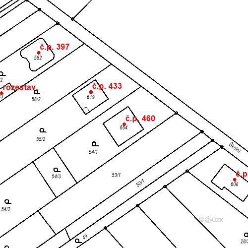 Katastrální mapa Stavební objekt Senice na Hané 460, Senice na Hané