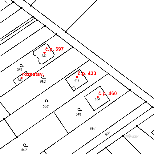 Katastrální mapa Stavební objekt Senice na Hané 433, Senice na Hané