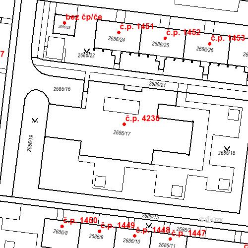 Katastrální mapa Stavební objekt Prostějov 4236, Prostějov