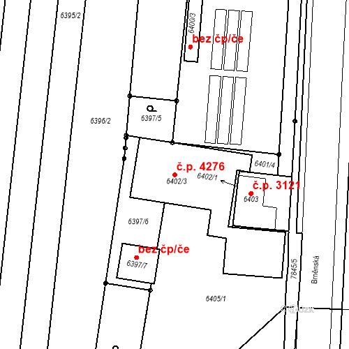 Katastrální mapa Stavební objekt Prostějov 4276, Prostějov