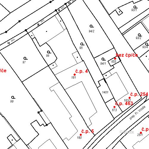 Katastrální mapa Stavební objekt Senice na Hané 4, Senice na Hané