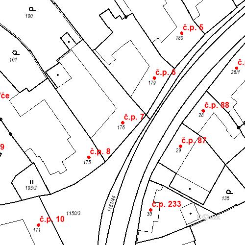 Katastrální mapa Stavební objekt Senice na Hané 7, Senice na Hané
