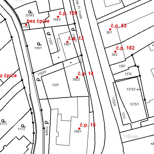 Katastrální mapa Stavební objekt Senice na Hané 14, Senice na Hané