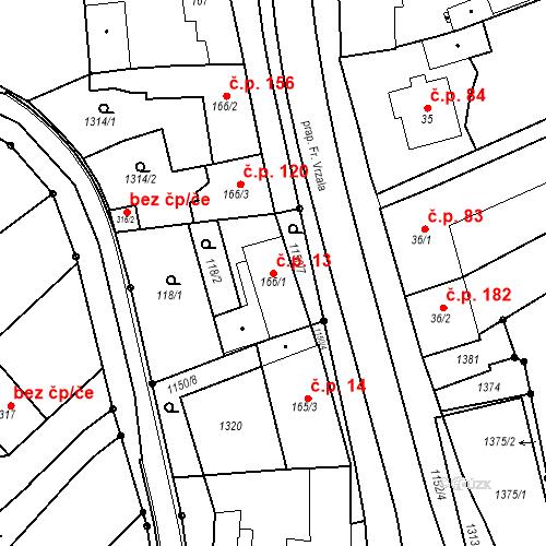 Katastrální mapa Stavební objekt Senice na Hané 13, Senice na Hané