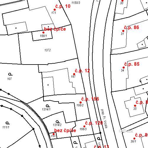 Katastrální mapa Stavební objekt Senice na Hané 12, Senice na Hané