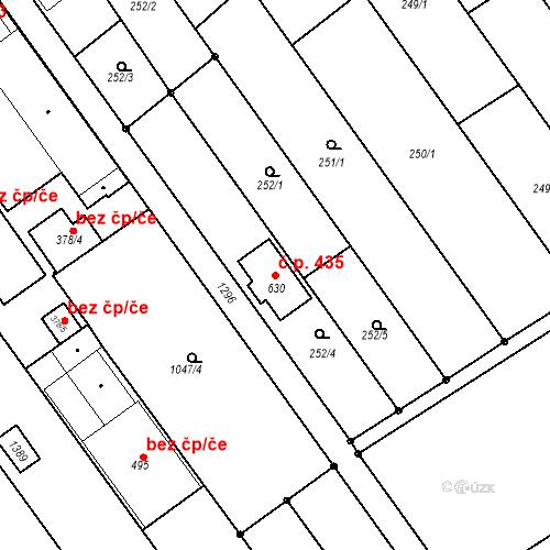Katastrální mapa Stavební objekt Senice na Hané 435, Senice na Hané