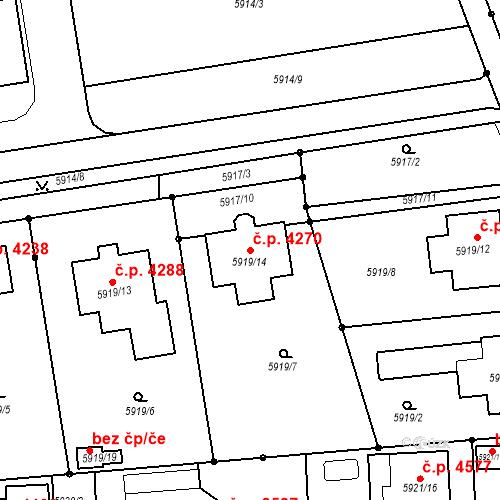 Katastrální mapa Stavební objekt Prostějov 4270, Prostějov